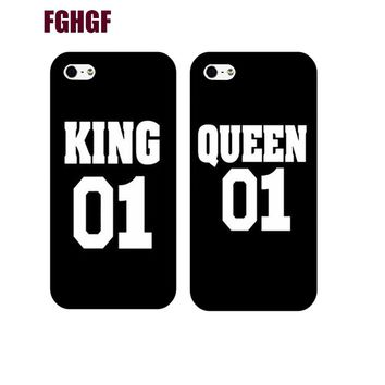 Queen King Brand Couple Case for iphone 5s 6 6splus 77plus unique boyfriend girlfriend gifts Cover for iphone 8 8plus x 5c