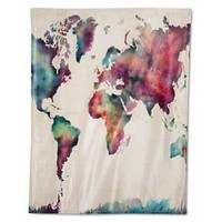 """Watercolor Map Throw - 50""""x60"""" - Multicolor - HOT NOW®"""