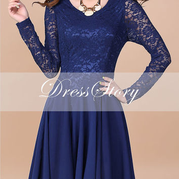 Blue Lace Chiffon Dress / Blue Fit and Flare Dress / Long Sleeve Lace Dress