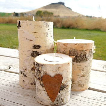 Birch Candle Holders, Set of 3 Real Natural Birch Log Tealight Candle Holders, Holiday Decor, Country Wedding,  Rustic Home Decor, RST232