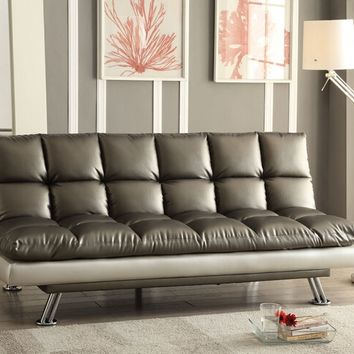Baka collection tow tone dark silver and silvery grey faux leather upholstered futon sofa bed