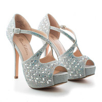Carina5 Silver Sparkling Strappy D'orsay Peep Toe Platform Stiletto Heels