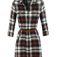 LE3NO Womens Lightweight Flannel Plaid Dress with Faux Leather Belt (CLEARANCE)