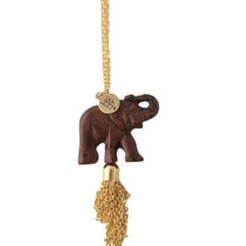Bourbon and Boweties Necklace - Brick Elephant Tassel