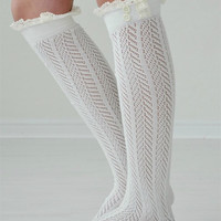 Ivory Lace Boot Socks