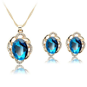 Vintage Faux Sapphire Lacy Necklace and Earrings