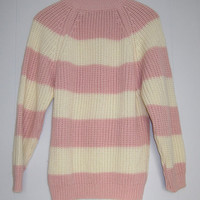 free shipping Vtg 80's Pink Striped Sweater chunky knit pullover women's S / M