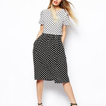 ASOS Midi Skater Dress In Spot Print With Button Off Waist