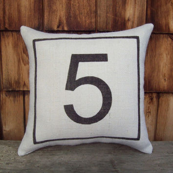 Burlap Number Pillow by North Country Comforts - Decorative Pillow - Burlap Pillow - Industrial Decor