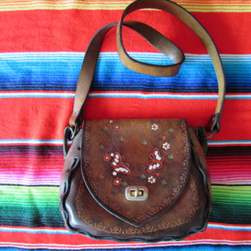Awesome Hippie Boho Leather Tooled and Painted Flowers and Butterfly Lorene Bag