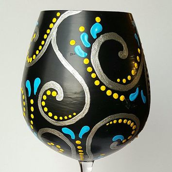 Decorative wine glass, elegant, fancy, black, silver, turquoise, Swirl, Hand Painted, High Quality, wine glass tea light candle holder
