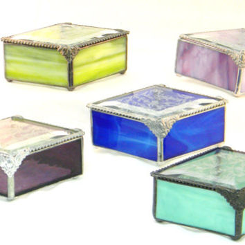 "Handmade Bridemaid Gift, Stained Glass Jewelry Boxes, Diamond Shape 3 X 5"" Set of 6, Gift for Her, Color Match Your Wedding or Event"