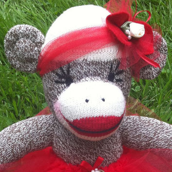SALE- TAKE OFF 15% Sock Monkey Doll, Plush Toy in Red Tutu