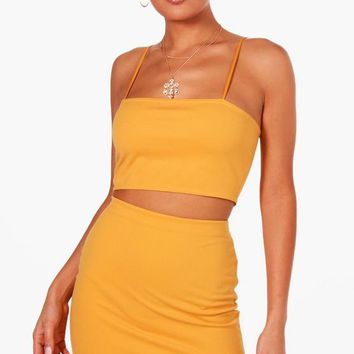 Sarah Strappy Crop & Mini Skirt Co-ord Set | Boohoo