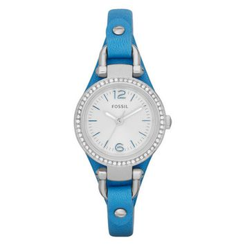 FOSSIL Blue Leather Strap Ladies Watch
