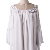 Heart of Dixie Bell Sleeve Top in White - Last Chance Item