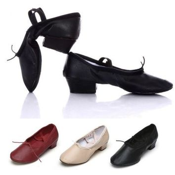 Ballet Shoe With Heels Women Lady Girl Teacher Dance Shoes Ballet Leather Chunky Heel Black/Pink/Red