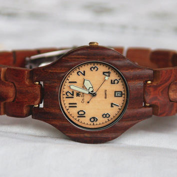 Wooden Watch For Women Sandal Wood Watch Wrist Bracelet Quartz Vintage Watch With Calendar Round Dial Gift (W01009)