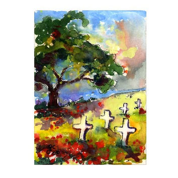 ACEO Poppies Of Somme France WWII Original Watercolor Painting by Ginette Callaway
