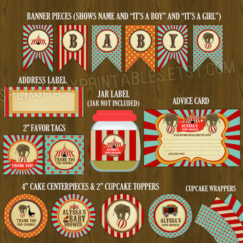 Circus Printable Baby Shower Package - Vintage Circus Big Top Baby Shower DIY Set - invitation, banner, cupcake toppers, placemat, games