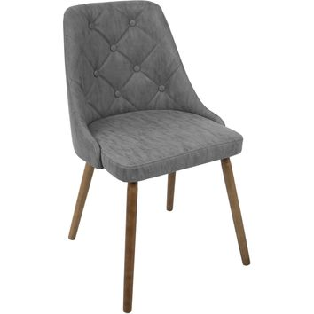 Giovanni Mid-Century Modern Dining Chair, Walnut & Grey Quilted PU