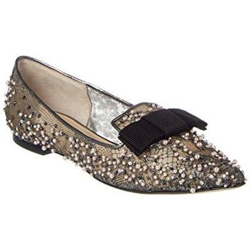 Jimmy Choo Gala Lace Crystal & Pearl Embellished Pointy Toe Flat, 39, Grey