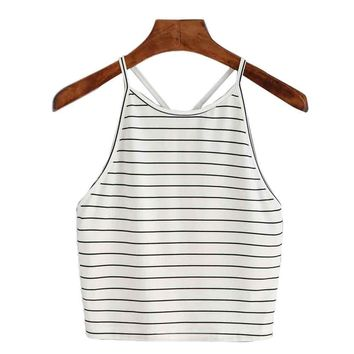 Women Fashion Summer Sexy Striped Tank Top Sleeveless T-Shirt Cotton Casual Comfortable Tops Croped Feminino Curto f4