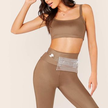 Solid Cami Crop Top & High Waist Cycling Shorts Set