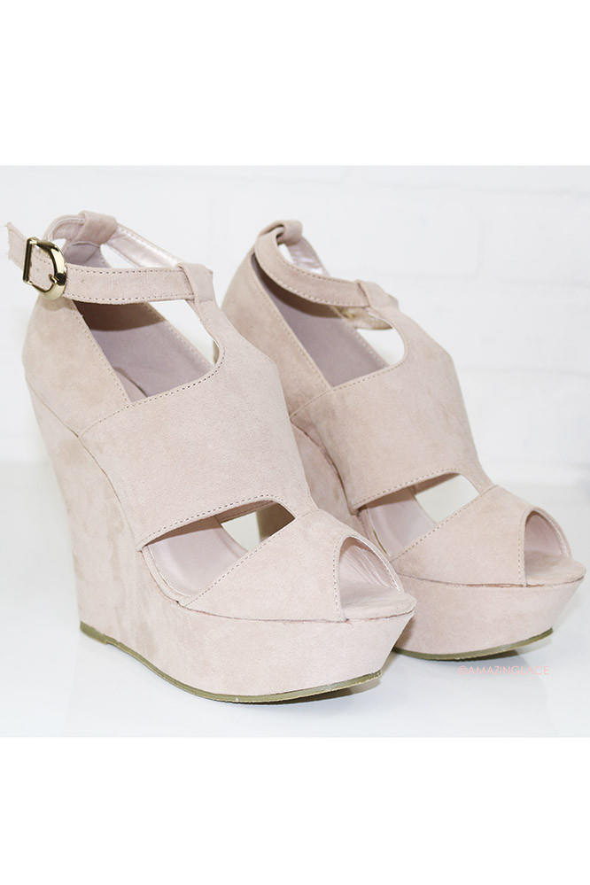 Show Me The Way Pale Pink Wedge Sandals from Amazing Lace fa511fdf17