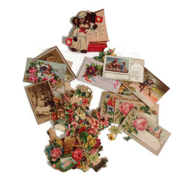 Vintage Victorian Paper Ephemera-Assorted Note Cards-Place Cards-Roses-Scrapbooking-Greeting Card Cut-Outs-Crafting-Decouppage-Shabby Chic