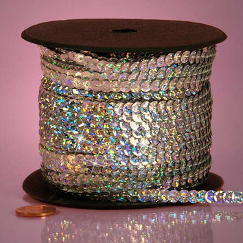 Silver Holographic Faceted Extra Sparkle String 6mm x 80 yards Sequins