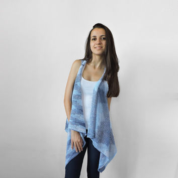 FREE SHIPPING Blue vest Knitted light blue white long vest Spring vest Light summer wear Sky blue Plus size overcoat Extra large size XXXL