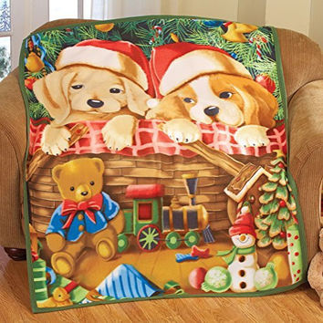 Santa Adorable Puppies Winter Christmas Fleece Throw