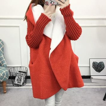 2018 Winter Autumn Women Sweater Long Cardigans Knitted Cashmere Hooded Plus Velvet Warm Female Coat Clothes
