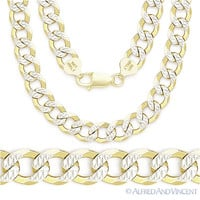 Cuban Curb Sterling Silver 14k Yellow Gold Men's 9mm Link Italian Chain Necklace