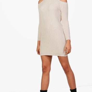 Yasmin Cold Shoulder Roll Neck Knitted Dress | Boohoo