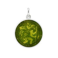 Betteridge ​Small Silver St Christopher Medal with Moss Green Enamel