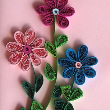 Flowers Quilling Card With Quilled Flowers, Flowers Handmade Quilled Paper Card in Pink