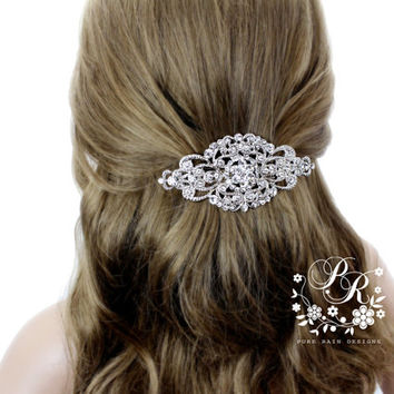 Wedding Barrette Rhinestone Hair Clip Bridal Barrette hair accessory Wedding Jewelry Wedding Accessory Bridal ribbon