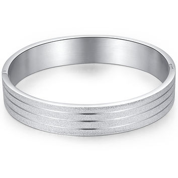 Stainless Steel Sparkle Finish Bangle Bracelet