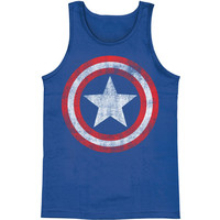 Captain America Men's  Distressed Shield Mens Tank Blue Rockabilia