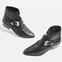 Front Zip Western Ankle Boots - Shoes