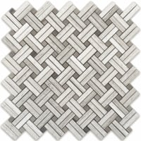 White Oak Silver Cream Diagonal Basketweave Stanza Mosaic Tile