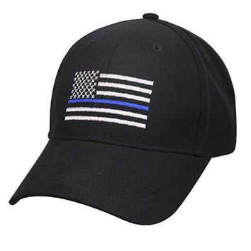 American Flag with Blue Line Low Profile Tactical Hat - Black