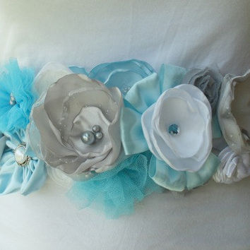 Baby Blue - White - Grey Maternity Sash, Wedding Sash, Ribbon Belt in Blue, Blue and Grey Pregnancy Photo Prop