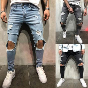 Brand Designer Slim Fit Ripped Jeans Pants Men Hi-Street Mens Distressed Denim Joggers Knee Holes Washed Destroyed Jean Trousers