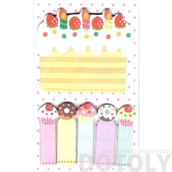 Birthday Cake and Cupcakes Food Themed Memo Pad Post-it Index Sticky Bookmark Tabs