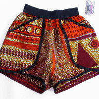 High Waist African Print Pants Shorts - Bold Bright African Wax Print - New!