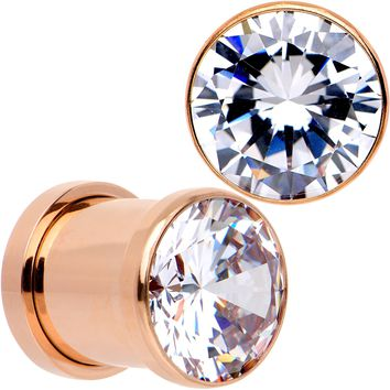 00 Gauge Clear CZ Gem Rose Gold PVD Glitzy Screw Fit Tunnel Plug Set