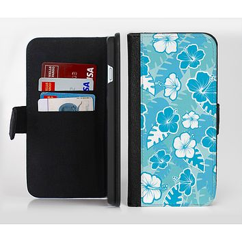 The Blue & White Hawaiian Floral Pattern V4 Ink-Fuzed Leather Folding Wallet Credit-Card Case for the Apple iPhone 6/6s, 6/6s Plus, 5/5s and 5c